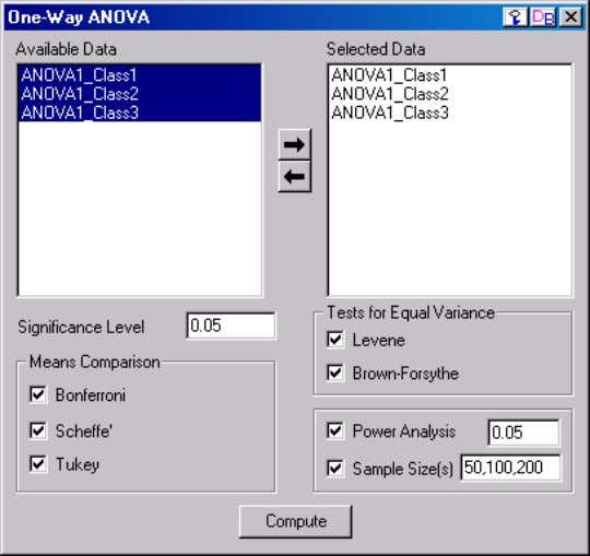 detailed information. Operating the One-way ANOVA Controls 1) The Available Data List Box Contains a list