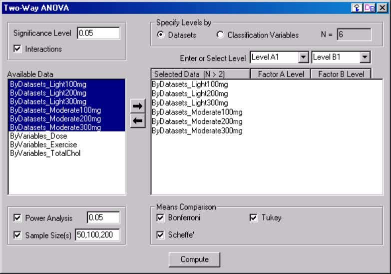 15: Data Analysis Operating the Two-way ANOVA Controls 1) The Significance Level Edit Box Enter a