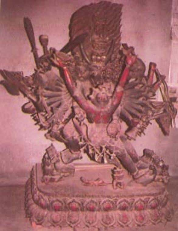 Beneath the feet lie the subjugated deities and animals. He is usually depicted with his Prajna.