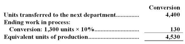 department? Answer: c. What is the cost per equivalent unit for conversion costs for the first
