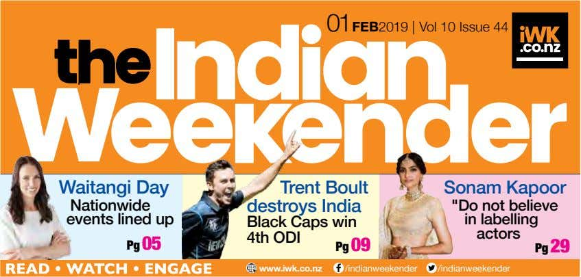 01 FEB 2019 | Vol 10 Issue 44 Waitangi Day Trent Boult destroys India Sonam