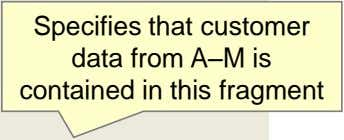 Specifies that customer data from A–M is contained in this fragment