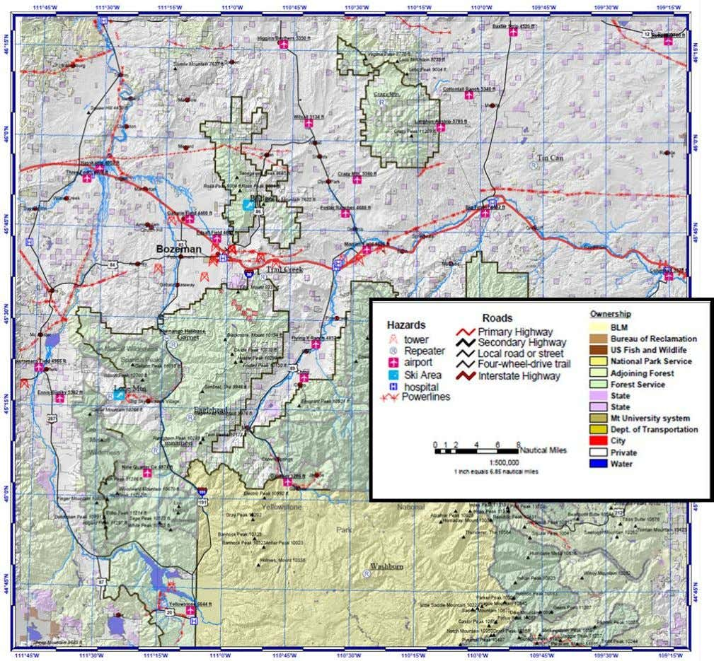 Helicopter Rescue Techniques National SAR Academy Figure 5- Aviation Hazard Map. Gallatin National Forest. U.S. Forest