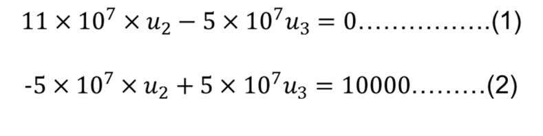 the matrices (refer to matrix lecture slides) gives Two equations with two unknowns can be easily
