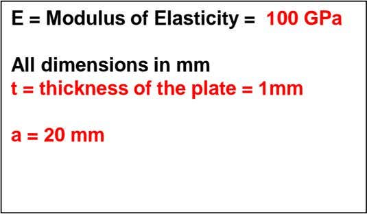 E = Modulus of Elasticity = 100 GPa All dimensions in mm t = thickness