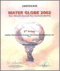Recognition  Second Prize in Water Globe Award Category of the Energy Award 2002 presented Austria.