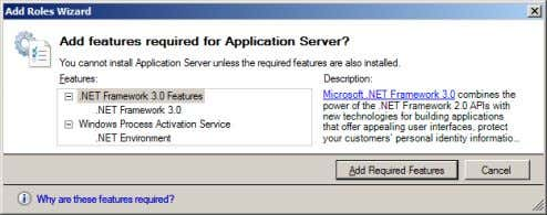 now proceed with selecting my next role, Application Server. Role and feature modelling kicks in once