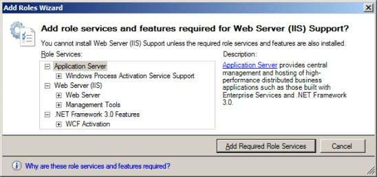 "decided that I need to add ""Web Server (IIS) Support"" I'm now warned that my new"