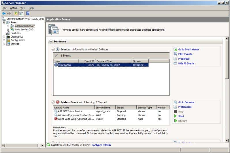 on <Application Server> to see what is happening. Windows 2008 Server Manger Copyright Aidan Finn 2008