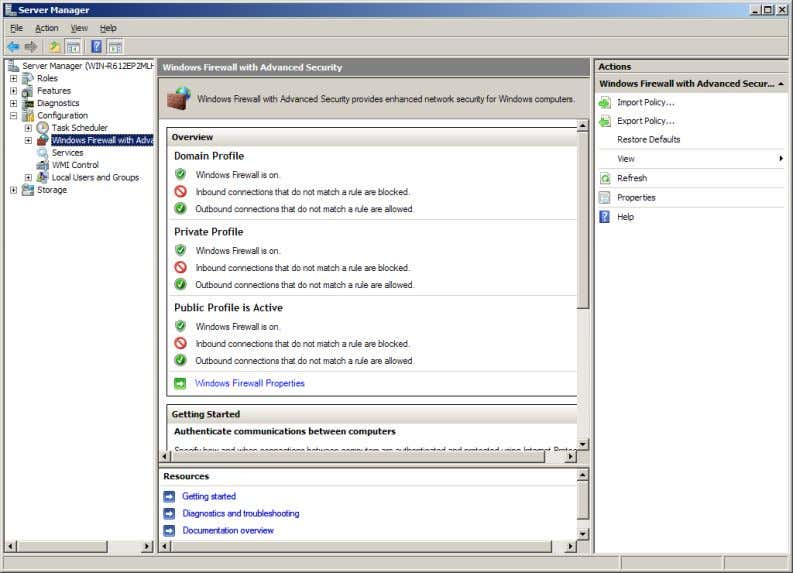 Windows Firewall with Advanced Security is where you can configure the Windows Firewall. Notice that