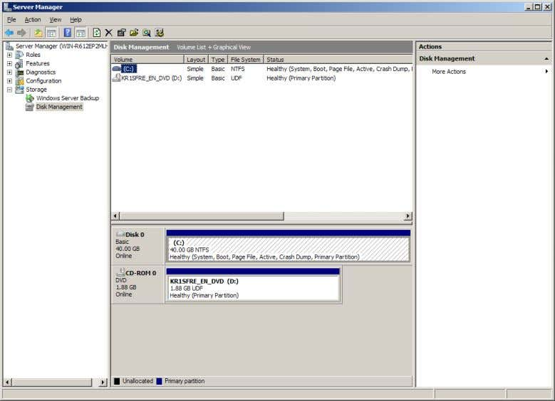 Administrators can use Disk Management to provision disks and volumes on the server. One of