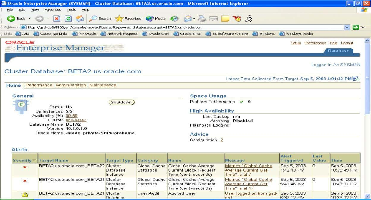 Enterprise Manager Database Home Page