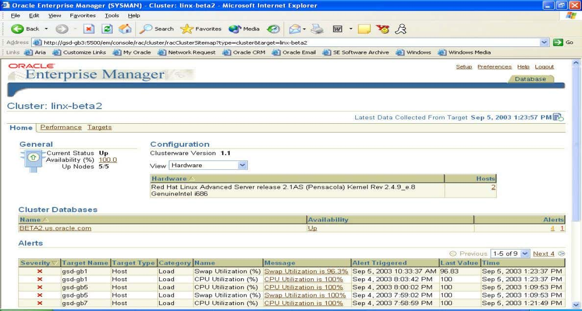 Enterprise Manager Cluster Page