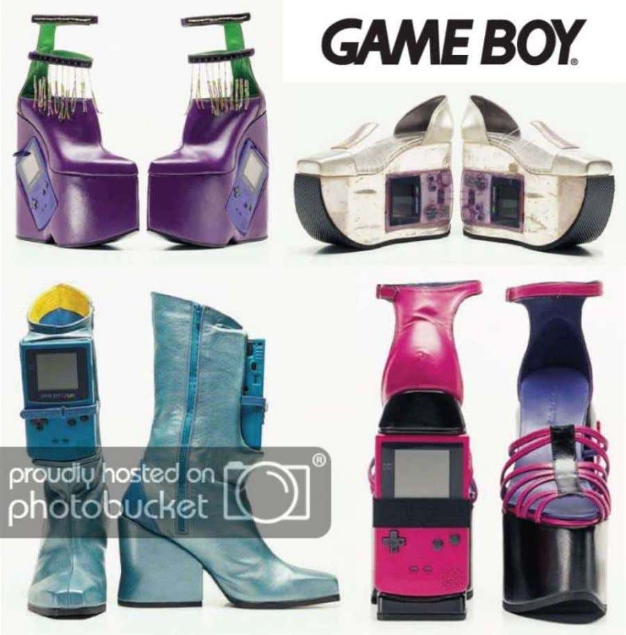 an eccentric additional-purpose shoe. The design incorporates a storage area for digital games. Street stylista (2009)