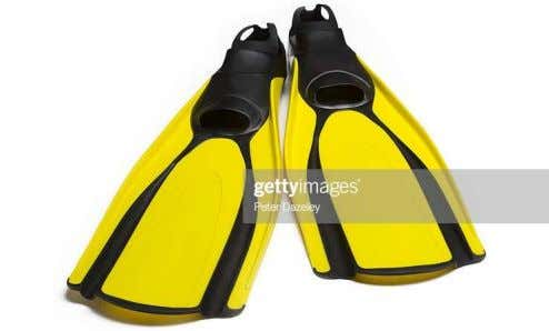 an extremely slow and difficult act. And comical to watch. Diving shoes are an example of