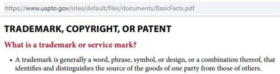 Office offers guidelines for American registered trademarks. Trademarked work must be distinguishable to attorneys