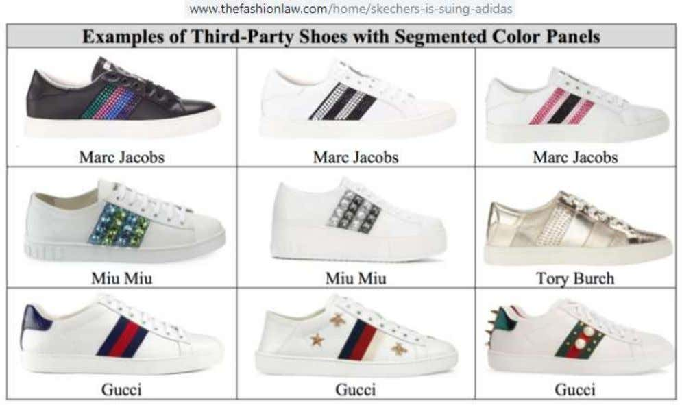 use multi colored stripe designs on trainers/sneakers and casual shoes. The image below offers four brand