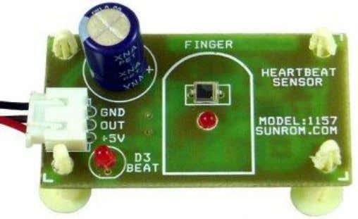 the inverting oscillator amplifier. 3.2 HEARTBEAT SENSOR Heart beat sensor is designed to give digital output