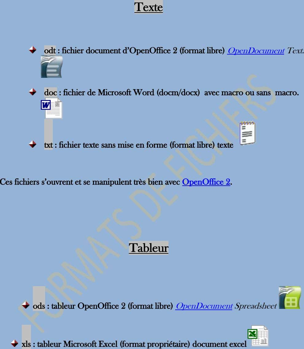 Texte odt : fichier document d'OpenOffice 2 (format libre) OpenDocument Text. doc : fichier de