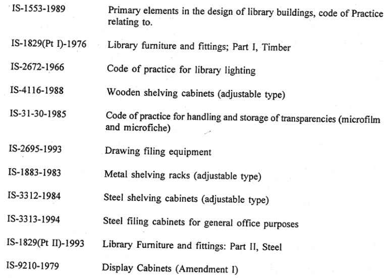 Physical Planning of Library LIST OF INDIAN STANDARDS AND SPECIFICATIONS ON LIBRARY BUILDINGS, FURNITURE AND EQUIPMENT