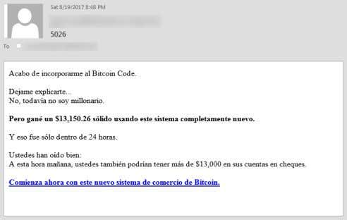 05 Spam Bitcoin scam email English translation: I just joined Bitcoin Code. Let me explain to