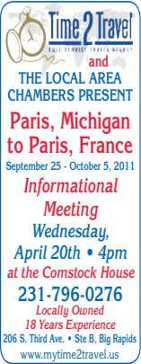 and THE LOCAL AREA CHAMBERS PRESENT Paris, Michigan to Paris, France September 25 - October