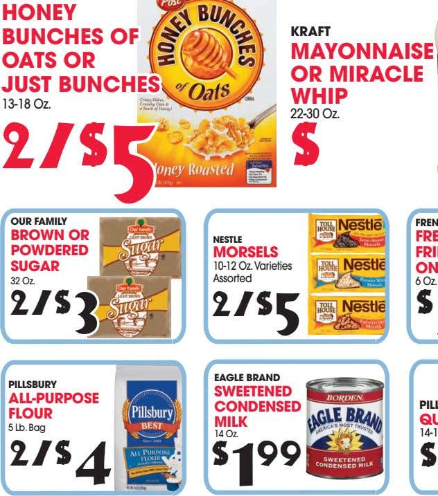 HONEY BUNCHES OF OATS OR JUST BUNCHES KRAFT MAYONNAISE OR MIRACLE WHIP 22-30 Oz. 2/$