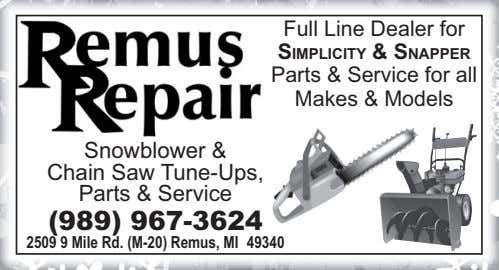 Full Line Dealer for SIMPLICITY & SNAPPER Parts & Service for all Makes & Models