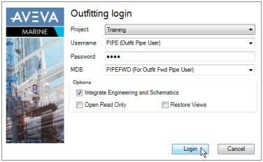 - Outfitting Login form appears, enter the following data: Project Training Username PIPE Password