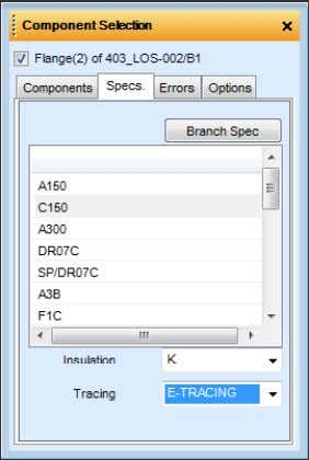 this can be reconnected using the Reconnection button. The Specs. tab allows the user to select