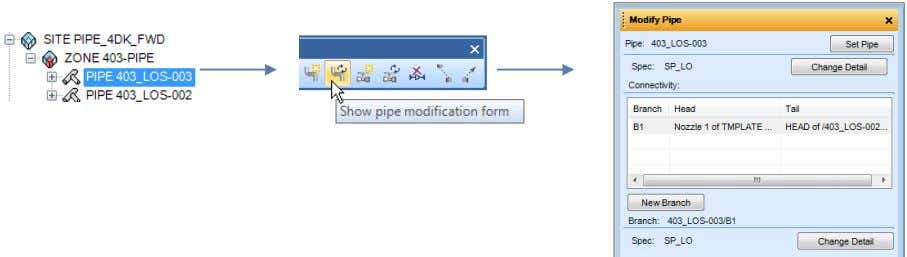 the Pipework Toolbar the Modify Pipe form will appear. Alternatively if the Modify Pipe form is