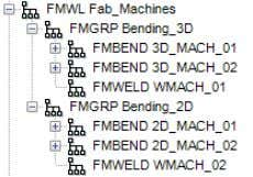 Machine Group (FMGRP) or Fabrication Machine (FMBEND). In the MTP project there is a single Fabrication