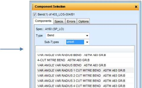 specification list, then choose the Components tab. The list of available bends is displayed including VAR