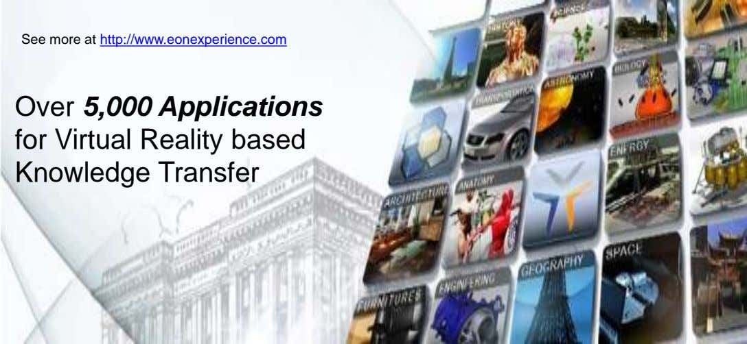 See more at http://www.eonexperience.com Over 5,000 Applications for Virtual Reality based Knowledge Transfer
