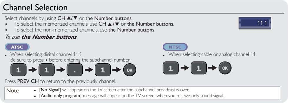 Channel Selection Select channels by using CH K / L or the Number buttons. •