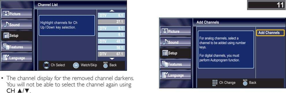 Channel List 11 Picture DTV 6.1 27.1 Highlight channels for Ch Up / Down key