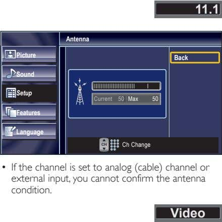 11.1 Antenna Picture Back Sound Setup Current 50 Max 50 Features Language Ch Change •