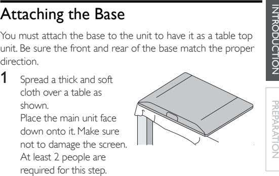 Attaching the Base You must attach the base to the unit to have it as