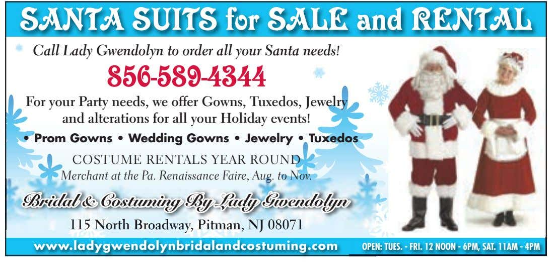 SANTA SUITS for SALE and RENTAL Call Lady Gwendolyn to order all your Santa needs!