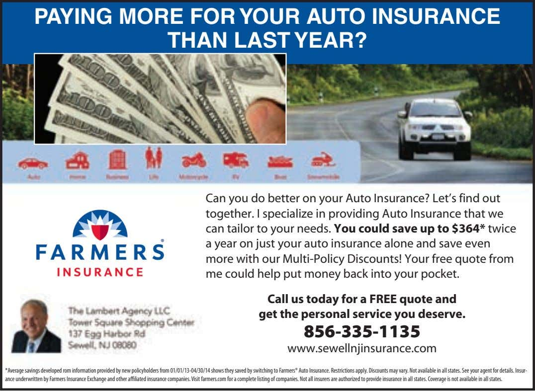 PAYING MORE FOR YOUR AUTO INSURANCE THAN LAST YEAR? Can you do better on your