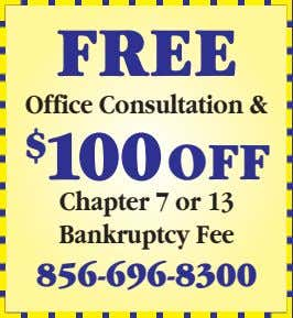 Office Consultation & FREE $ 100OFF Chapter 7 or 13 Bankruptcy Fee 856-696-8300