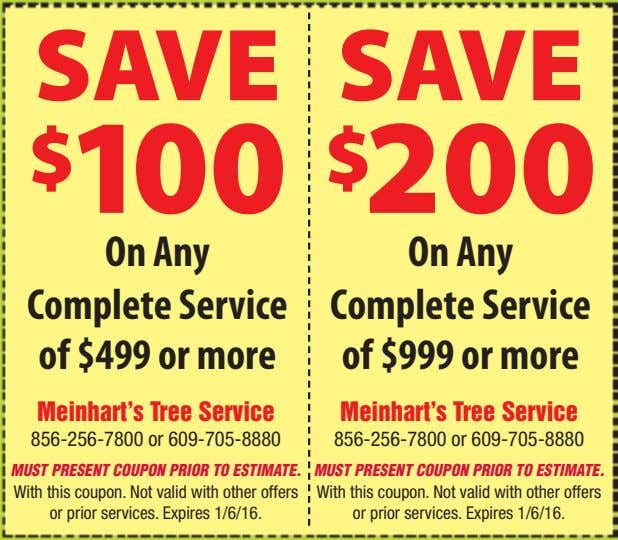 SAVE SAVE $ 100 $ 200 On Any Complete Service of $499 or more On