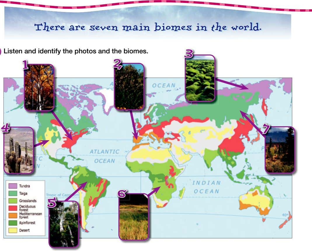 There are seven main biomes in the world. 33 Listen and identify the photos and