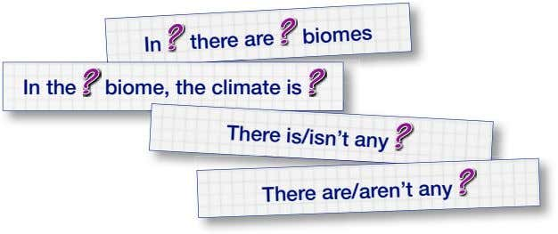 In there are biomes In the biome, the climate is There is/isn't any There are/aren't