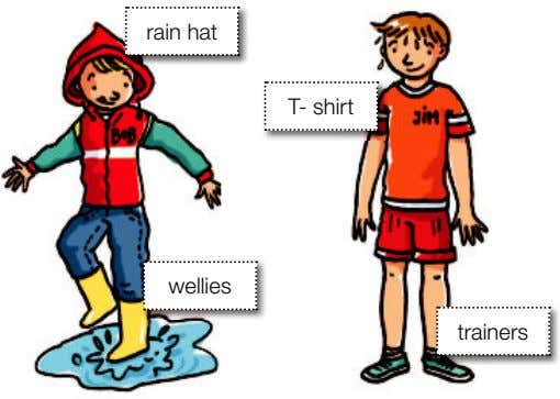 conditions. woolly hat scarf anorak cardigan dress It's cold and wet. It's cold and dry. It's