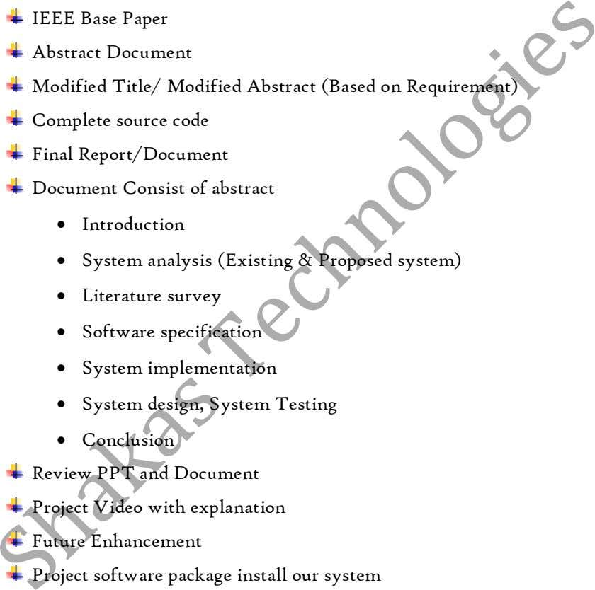IEEE Base Paper Abstract Document Modified Title/ Modified Abstract (Based on Requirement) Complete source code Final