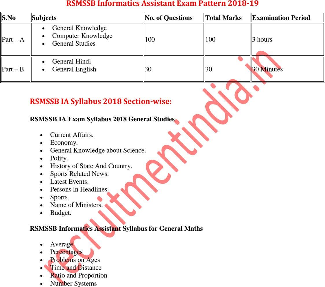 RSMSSB Informatics Assistant Exam Pattern 2018-19 S.No Subjects No. of Questions Total Marks Examination Period