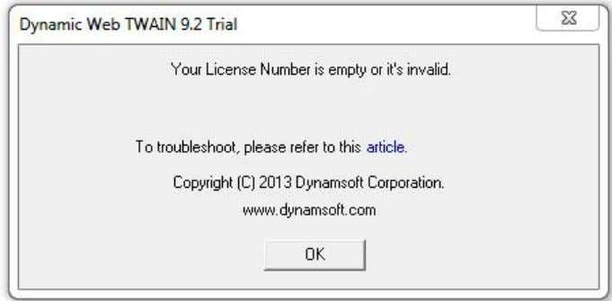 Dynamsoft.WebTwain(_dwtParam); })(); Common license errors As stated in the error message, the license is missing or
