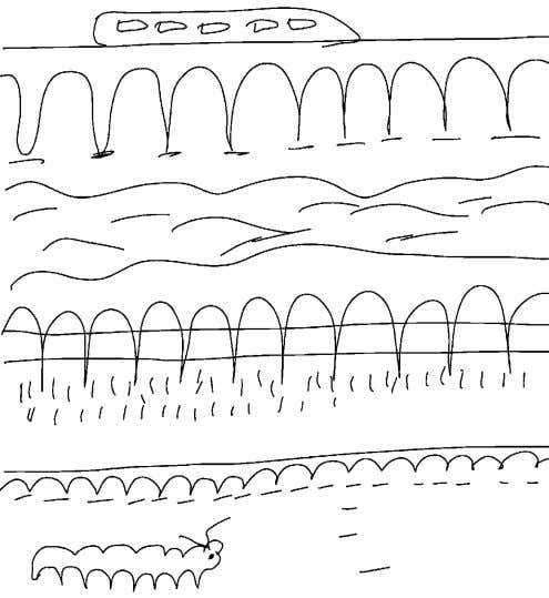 Practise the letter m Trace over the fence and rail track. Draw another large caterpillar on