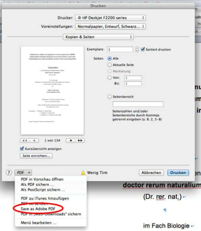"links unten die Option ""Save as Adobe PDF"". Abb. 3: MS Word 2011, Druckmenü zur Erstellung"